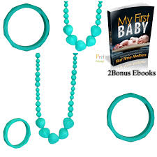 baby teething necklace silicone images Silicone teething necklace and bangle teether heart shape beads jpg