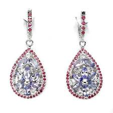 white topaz earrings blue violet tanzanite ruby white topaz earrings madringal