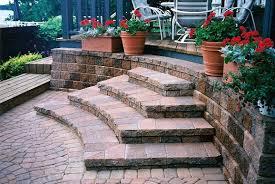 exterior extraordinary backyard decoration using paver patio step