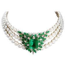 emerald pearl necklace images Chantecler emerald diamonds pearl necklace for sale at 1stdibs jpg