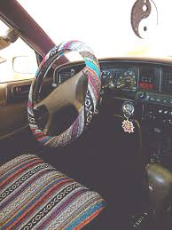 a steering wheel cover and seat cover on the hunt