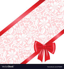 ribbon lace bow and ribbon on lace background royalty free vector
