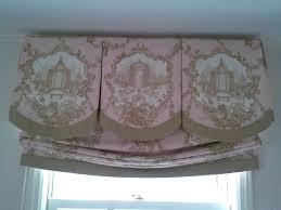 box pleat valance with contrasting banding and inserts along with