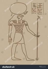 ra egyptian god painting sand background stock illustration