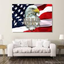 usa flag eagle good bless wall art canvas pictures for living room