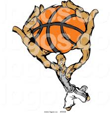 royalty free vector of a logo of a basketball player slam dunking