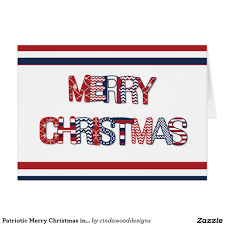 patriotic merry christmas in red white u0026 blue card christmas