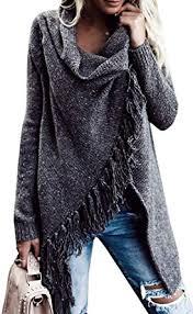 wrap cardigan sweater nulibenna womens striped tassel hem cowl neck one button wrap