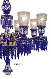 Bohemian Glass Chandelier Vintage Hardware U0026 Lighting Antique 8 Light Chandelier Cobalt