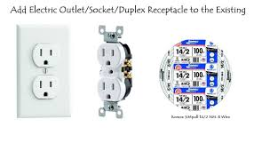 add electric outlet socket duplex receptacle to the existing
