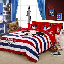 Twin Duvet Covers Boys America Style Red Striped Mickey Mouse Duvet Cover Bedding Sets