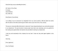 resignation letter two week notice resignation letter template