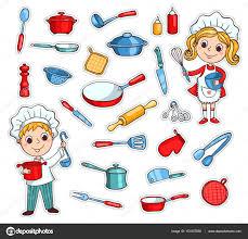 cuisine dessin animé ensemble d ustensiles de cuisine de dessin animé image vectorielle