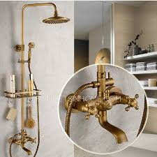 Antique Bathroom Faucets Fixtures Vintage Brass Bathroom Outdoor Shower Faucets With Shelves