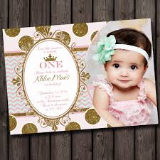 first birthday invitation pink and gold gray pink shabby