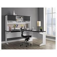 pursuit l shaped desk with hutch bundle white gray ameriwood