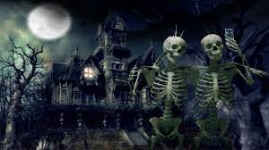 halloween background with house a haunted house with skeletons hd wallpaper hd wallpapers high
