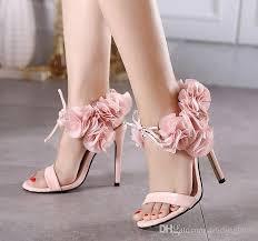 Light Pink Wedding Shoes Pink Flower Heels Qu Heel