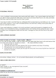 Hobbies And Interests For Resume Example by Team Leader Cv Example Icover Org Uk
