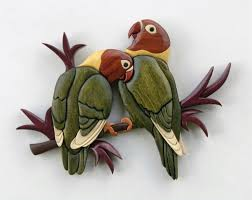 birds intarsia wall hanging wood carving wooden bird