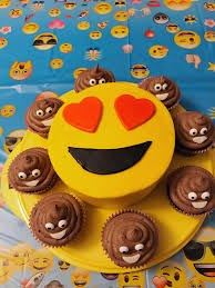 homemade emoji cake with chocolate ice cream emoji cupcakes
