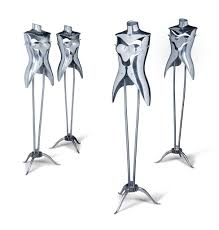four aluminium and steel mannequins designed and executed by nigel