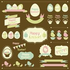 happy easter decorations set of happy easter ornaments and decorative elements stock