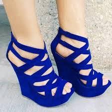 Cobalt Blue High Heels 30 Ultra Trendy Wedge Sandals On The Street Cobalt Blue For