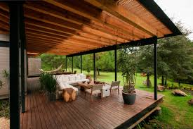 modern rustic style home exterior design come with wooden deck