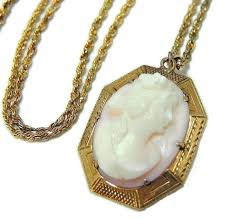 cameo gold necklace images Antique pink cameo pendant 10k gold w 14k gold chain premier jpg