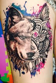 forearm wolf tattoos my wolf tattoo half realistic half mandala tattoo pinterest