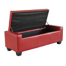 aosom homcom pu leather storage ottoman shoe bench red