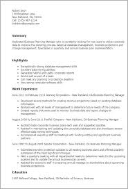 Sample Resume Of A Manager by Professional Business Planning Manager Templates To Showcase Your