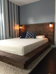 floating bed floating wood platform bed frame with lighted headboard quilmes