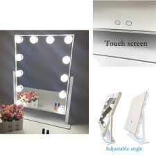 Tabletop Vanity Mirrors With Lights Aoleen White Hollywood Makeup Vanity Mirror With Light Dimmable