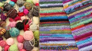 easy scrap yarn scarf or blanket crochet tutorial youtube