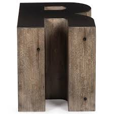 Industrial Accent Table Bea Industrial Loft Alphabet Letter R Wood Side Table Kathy Kuo Home