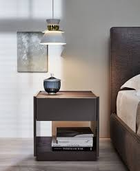contemporary bedside table glossy lacquered wood rectangular