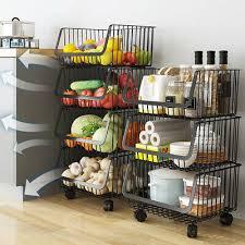 vegetable storage kitchen cabinets kitchen fruits wire basket black metal rack vegetables food