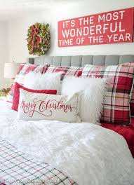 A White Christmas Decorations by Our Plaid Christmas Bedroom 2016 Plaid Bedding Christmas