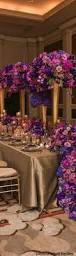 Purple Flowers Centerpieces by Forsgate Country Club Venue Pics Purple Gold Napkins And