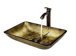vigo rectangular copper glass vessel sink and faucet set in oil