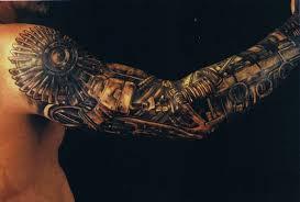 dark warrior tattoo on right half sleeve
