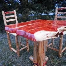 Cedar Table Top by Rustic Cedar Bistro Table And Chairs Niangua Furniture