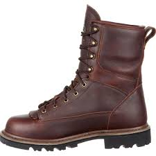 brown leather moto boots georgia boot brown leather waterproof lace to toe work boot