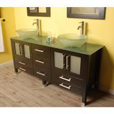 modern espresso double glass vessel sink vanity set lafayette
