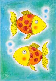golden fish child drawing watercolor painting paper