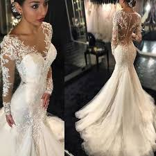 luxury mermaid wedding dresses luxury see through mermaid lace tulle wedding dresses