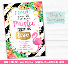 printable watercolor flamingo birthday invitation luau