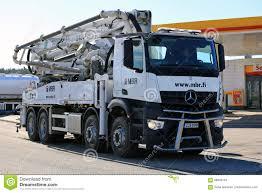 mercedes truck white white mercedes benz arocs schwing stetter mobile concrete pump t